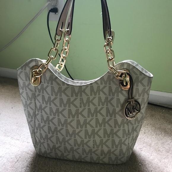 77a5bcc7696408 Michael Kors Bags | White Mk Logo Chain Shoulder Bag | Poshmark